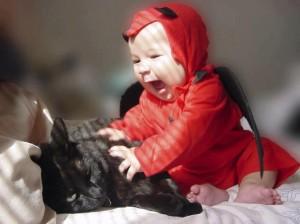 Apprendre l'anglais ou le cliché du Français ? lol cat et bébé, Demon cat, lol cat and baby demon, baby evil and lolcat, chat marrant et bébé, bébé en diable et chat mignon, chat mignon